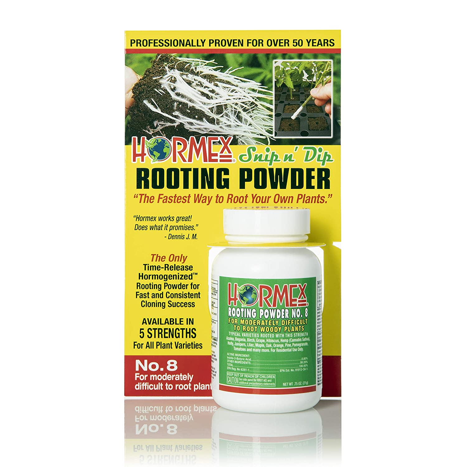 Hormex Rooting Hormone Powder #8   for Moderately Difficult to Root Plants   Fastest IBA Rooting Powder Compound for Strong & Healthy Roots (3/4 oz)
