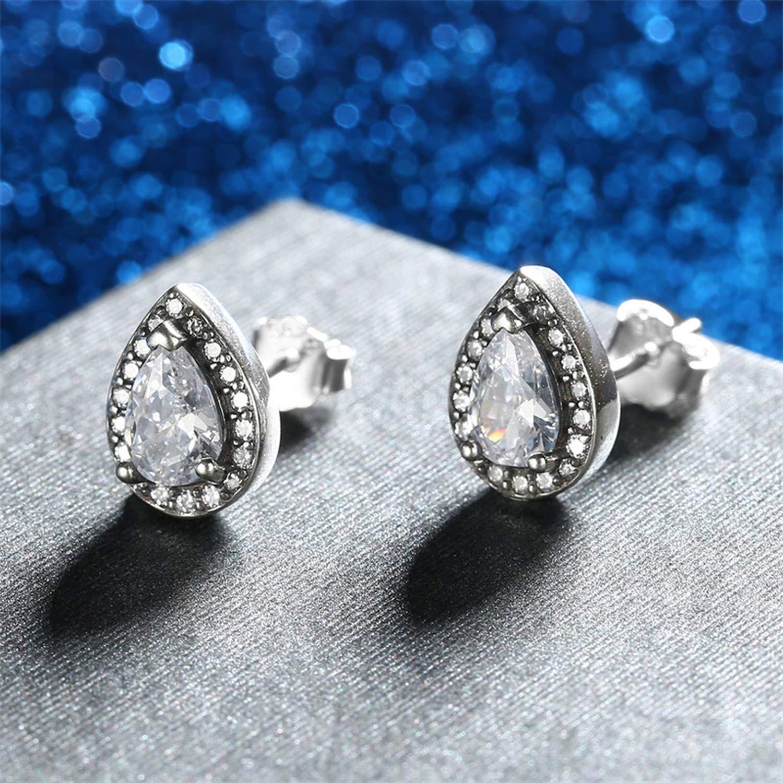 925 Sterling Silver Radiant Teardrop Clear CZ Stud Earrings for Women Sterling Silver Jewelry Gift