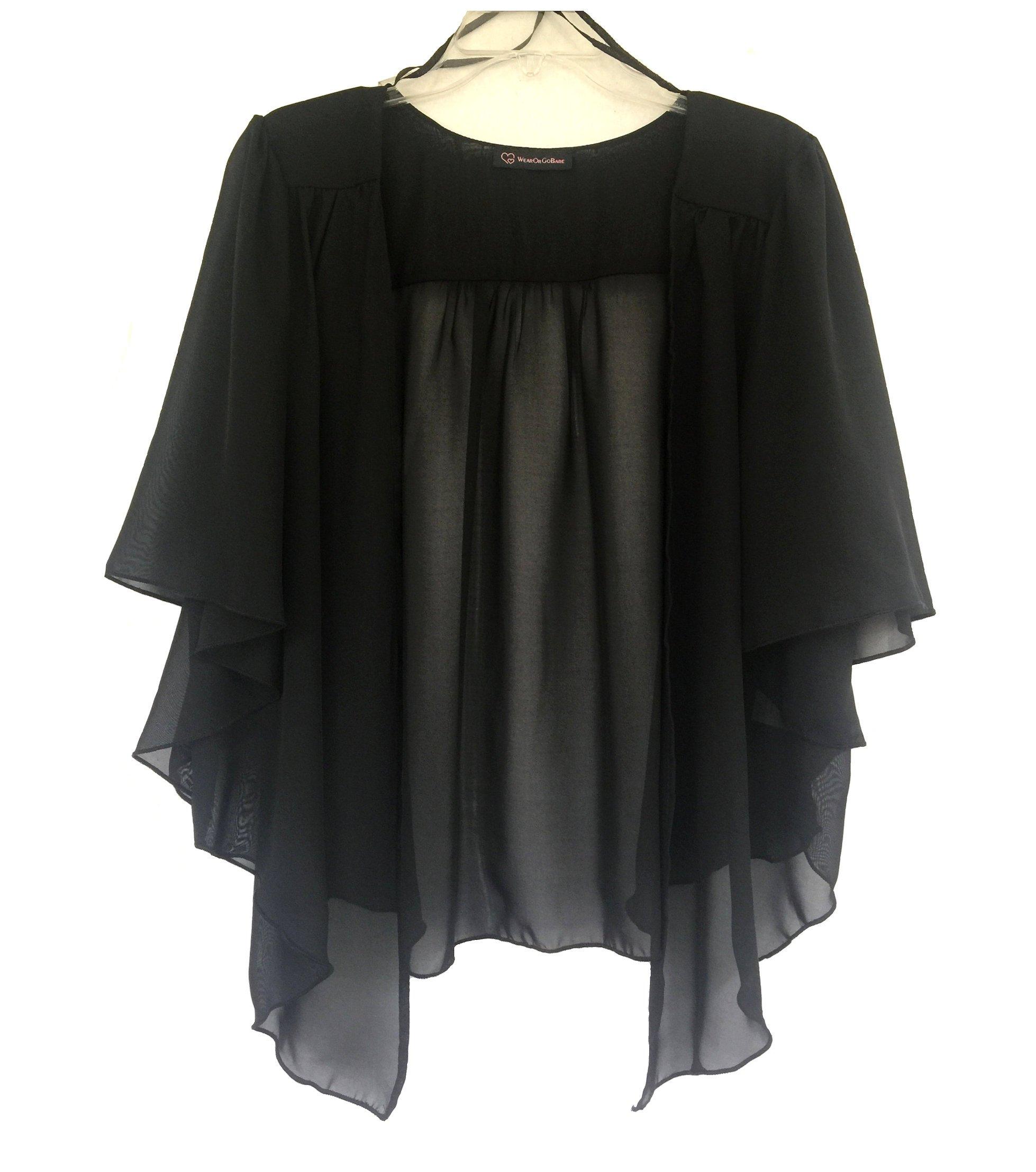 WearOrGoBare Women's Plus Size Cascading Chiffon Bolero Cardigan Shrug Top (4X, Black)
