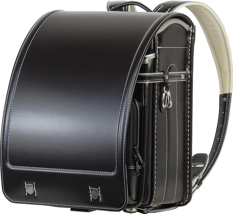 フィットちゃん エンブレムコンビランドセル 程良い艶モデル A4フラットファイル対応ワイドサイズ (ブラック×シルバーコンビ) B073X4ZLJK
