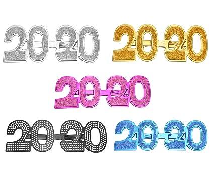 Amazon.com: Paquete de 5 gafas para fiesta con forma de 2020 ...