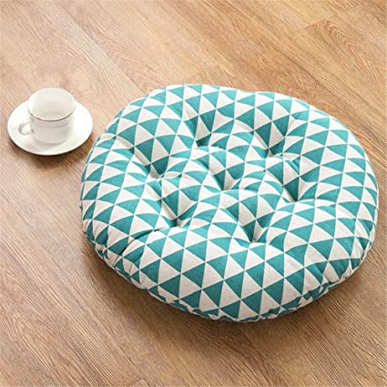 Thick Pad Yoga Cushion Pads Cotton Futon Tatami Pads Mats Circular Balcony Seat for Chair(Aqua triangle,15.7x15.7 inch)