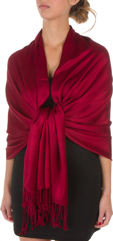 bf24116724d7 Sakkas 198cm x 71cm Textile Bio Bambou (rayonne) Doux Couleur Unie Pashmina  Châle