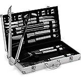 VonHaus 24-Piece Stainless Steel BBQ Accessories Tool Set - Includes Aluminum Storage Case for Barbecue Grill Utensils