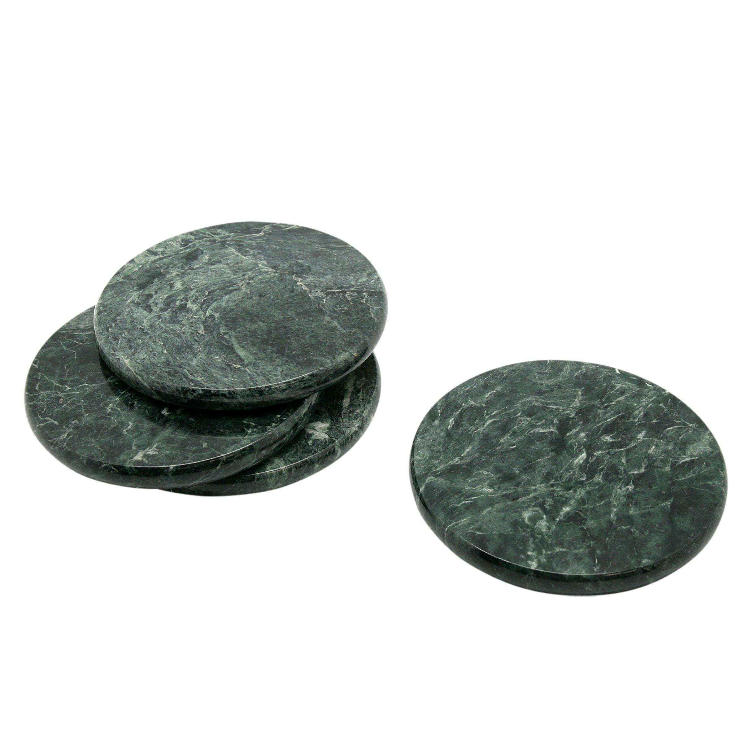 Creative Home Genuine Green Marble Stone Set of 4 Round Coaster Set