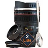 Coffee Mug - Camera Lens Coffee Mug -13.5oz, SUPER BUNDLE! (2 LIDS + SPOON) Stainless Steel, Travel Coffee Mug, Sealed & Retractable Lids! Camera Mug, Travel Coffee Cup, Coffee Mugs for Men, Women