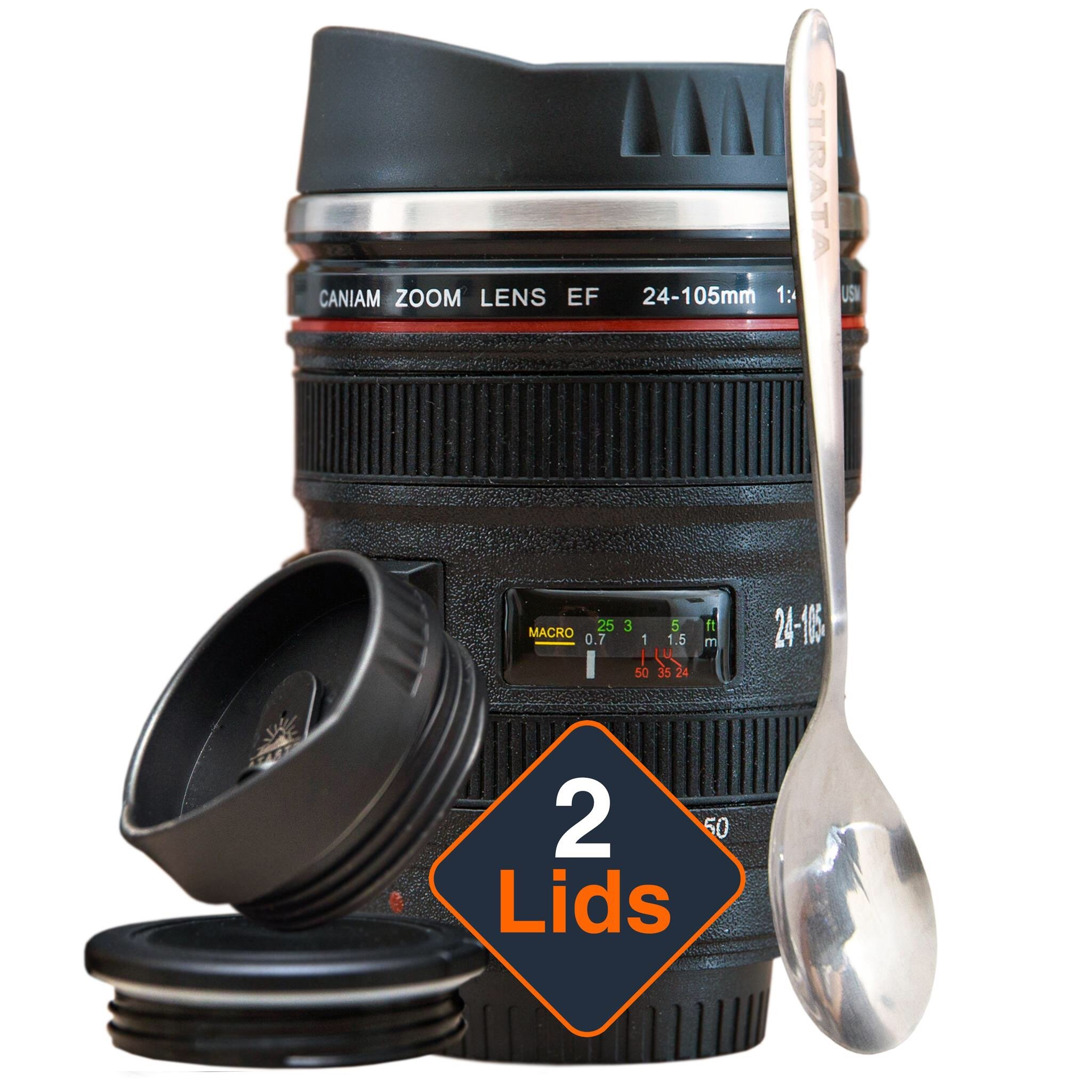 STRATA CUPS Camera Lens Coffee Mug -13.5oz, SUPER BUNDLE! (2 LIDS + SPOON) Stainless Steel Thermos, Sealed & Retractable Lids! Photographer Camera Mug, Travel Coffee Cup, Coffee Mugs for Men, Women by STRATA CUPS