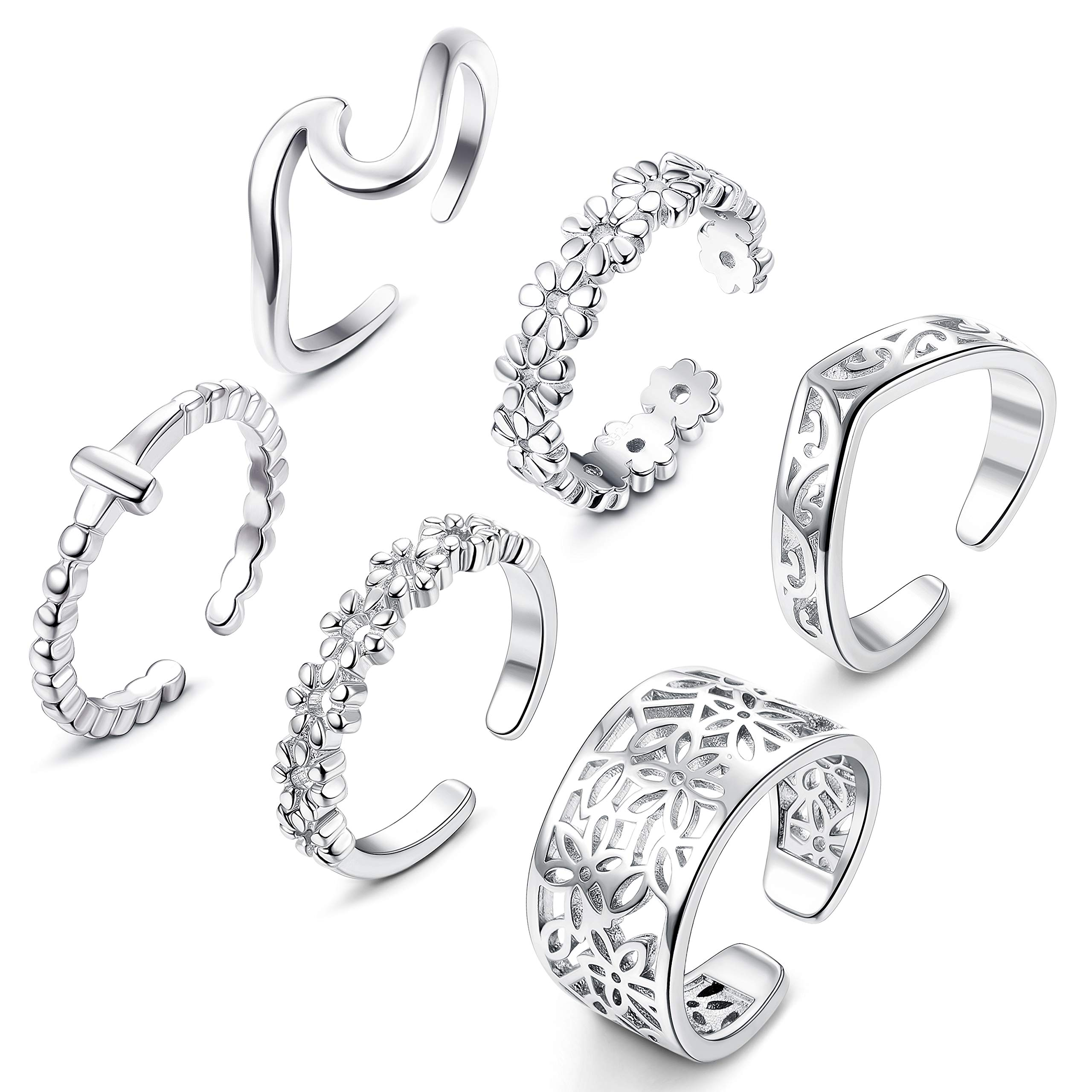 JOERICA 6 Pcs Toe Rings Set for Women Adjustable Wave Flower Open Tail Ring Band Foot Jewelry