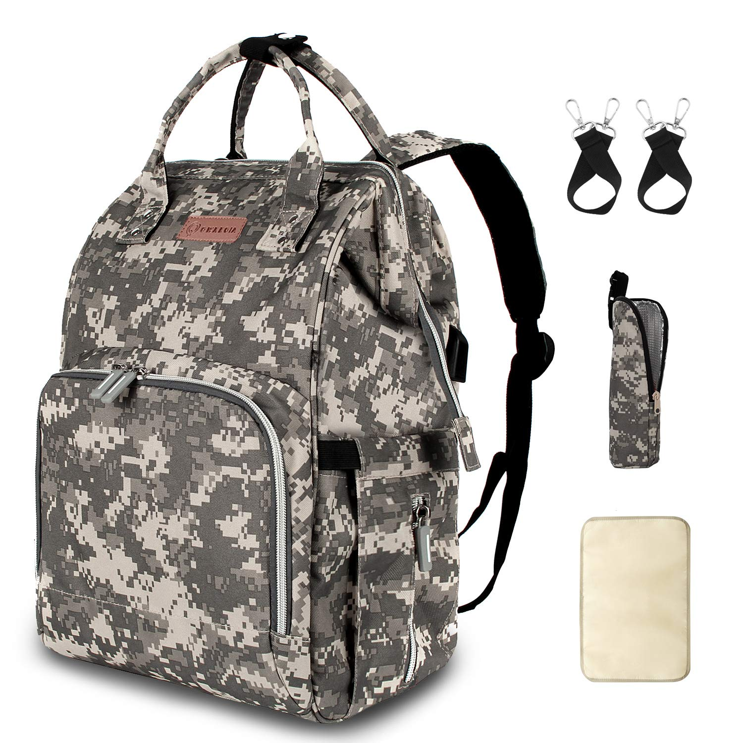 Diaper Bag Backpack with Stroller Straps Insulated Pocket and Changing Pad, Camouflage
