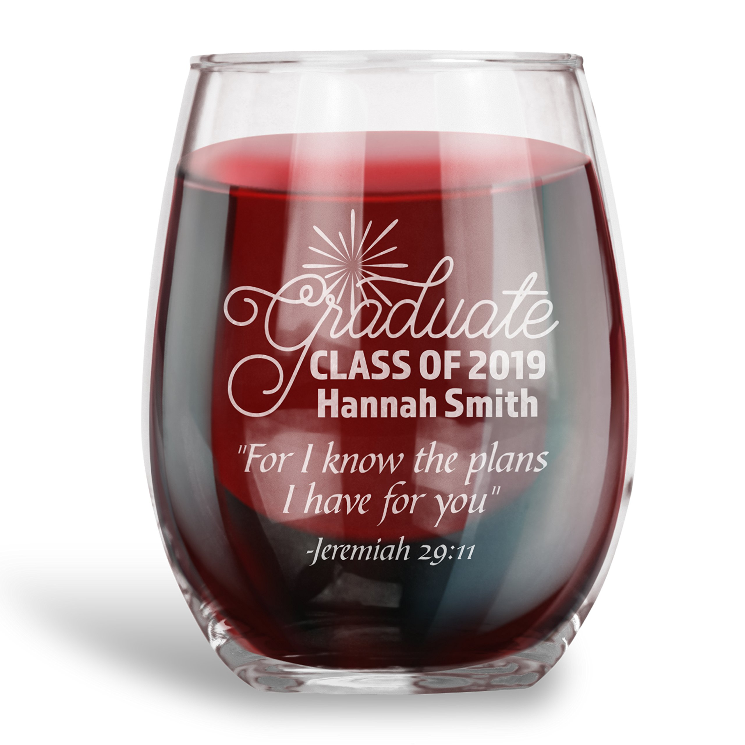 Graduation Gifts, Personalized 15 oz. Stemless Wine Glass |Jeremiah 29:11 |Engraved with your NAME and YEAR, Christian Gift Ideas by Personalization Lab