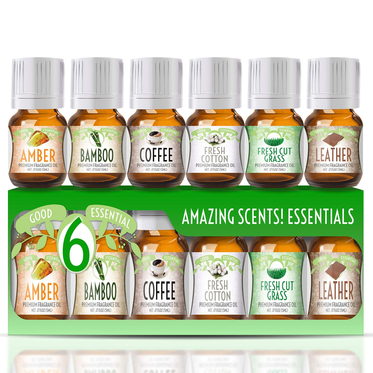 Fragrance Oils Set of 6 Scented Oils from Good Essential - Amber Oil, Coffee Oil, Leather Oil, Fresh Cotton Oil, Fresh Cut Grass Oil, Bamboo Oil: Aromatherapy, Perfume, Soaps, Candles, Slime, Lotions!
