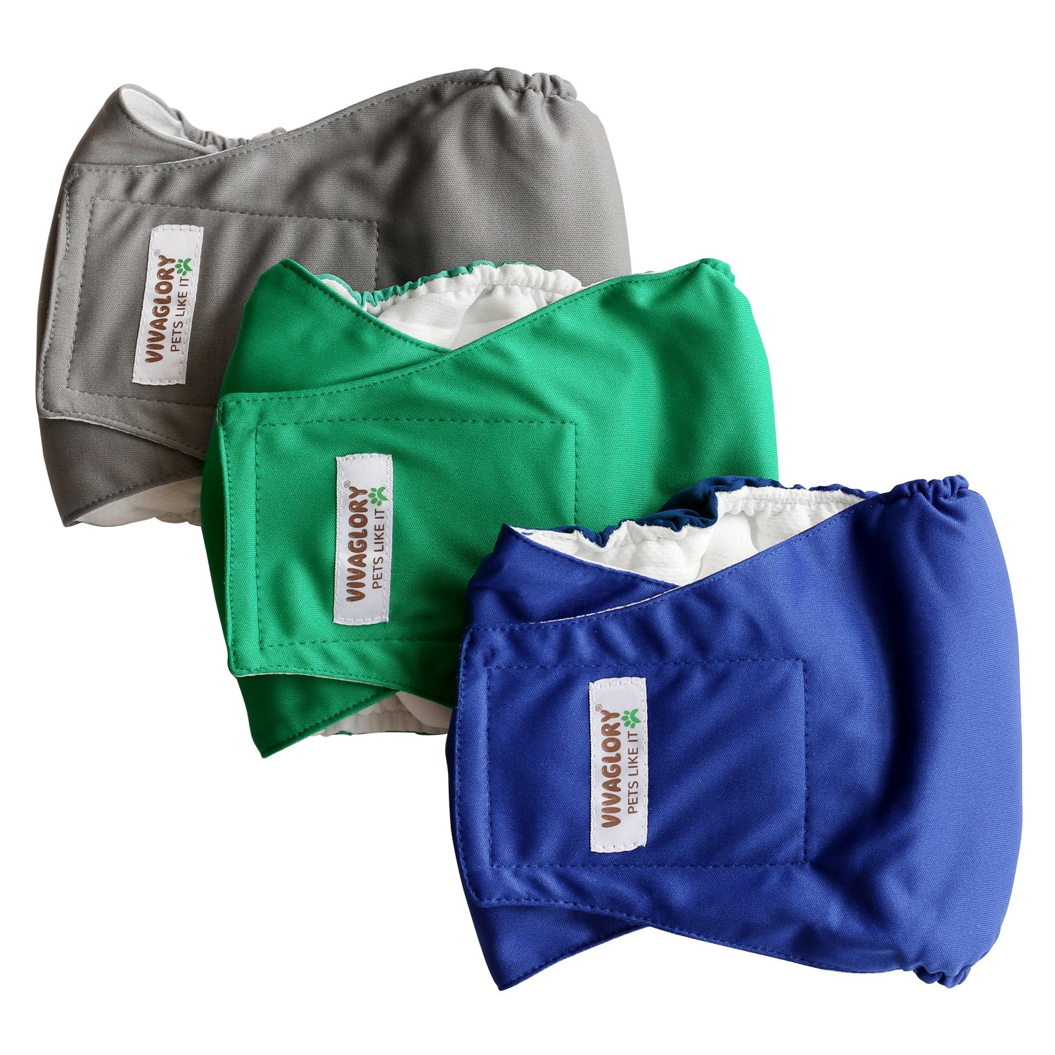 Vivaglory Dog Diapers Male, Reusable Washable Belly Wraps Doggy Puppy Panties, Pack of 3