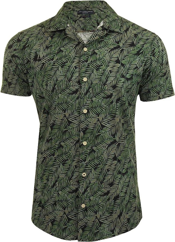 JACK & JONES JPRVICTOR - Camiseta Hawaiana de Manga Corta para Hombre Verde Duck Green M: Amazon.es: Ropa y accesorios