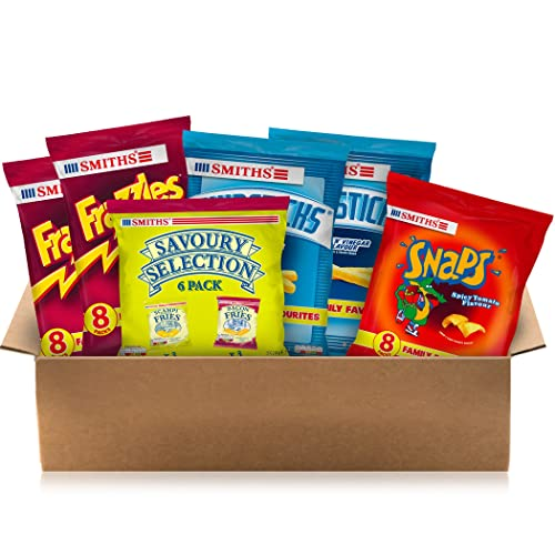 Smith's Pub Favourites Snacks Box - Scampi and Bacon Fries, Chipsticks, Frazzles, Snaps (46 Single Bags)