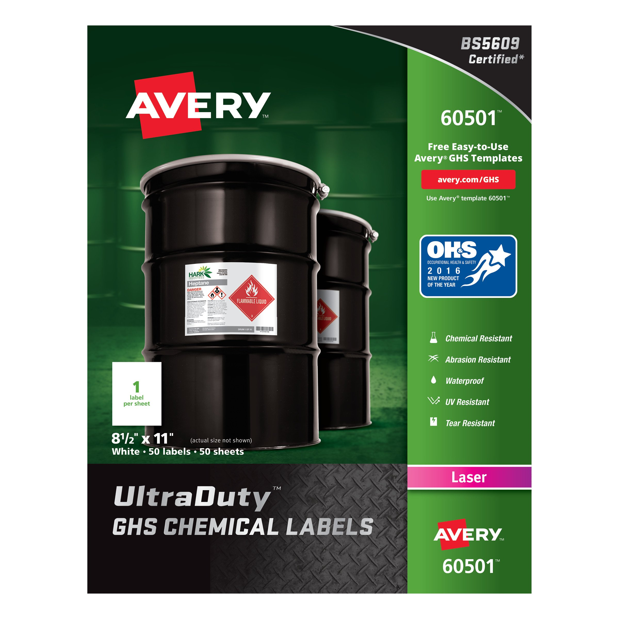 Avery UltraDuty GHS Chemical Labels for Laser Printers, Waterproof, UV Resistant, 8.5'' x 11'', 50 Pack (60501)