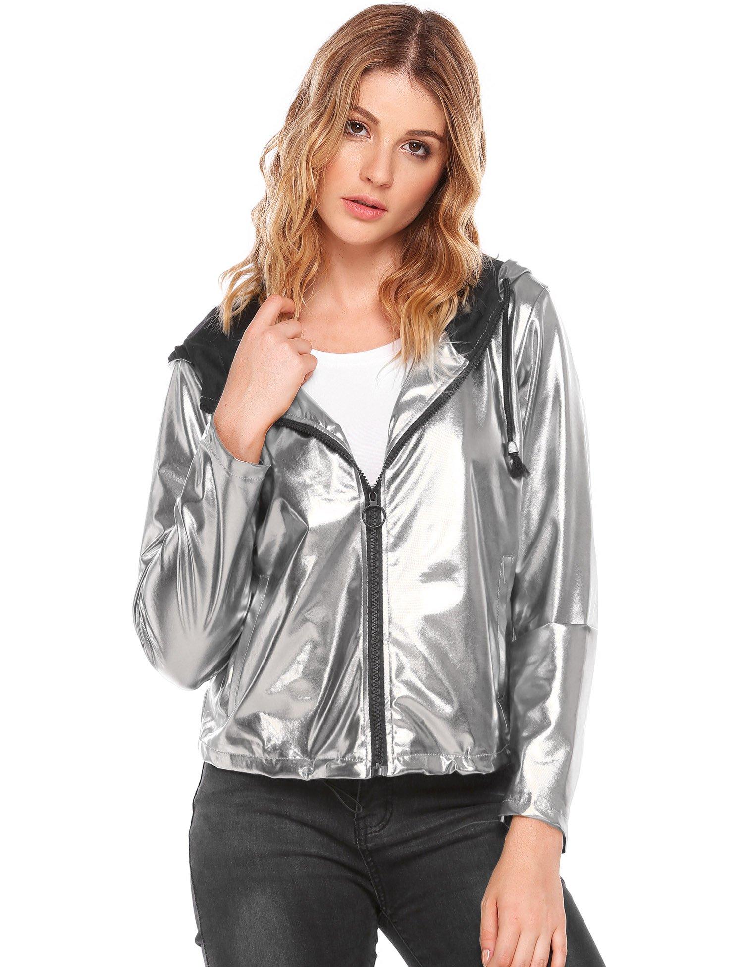 Women's Metallic Zipper Motorcycle Biker PU Leather Crop Jackets Silver, L