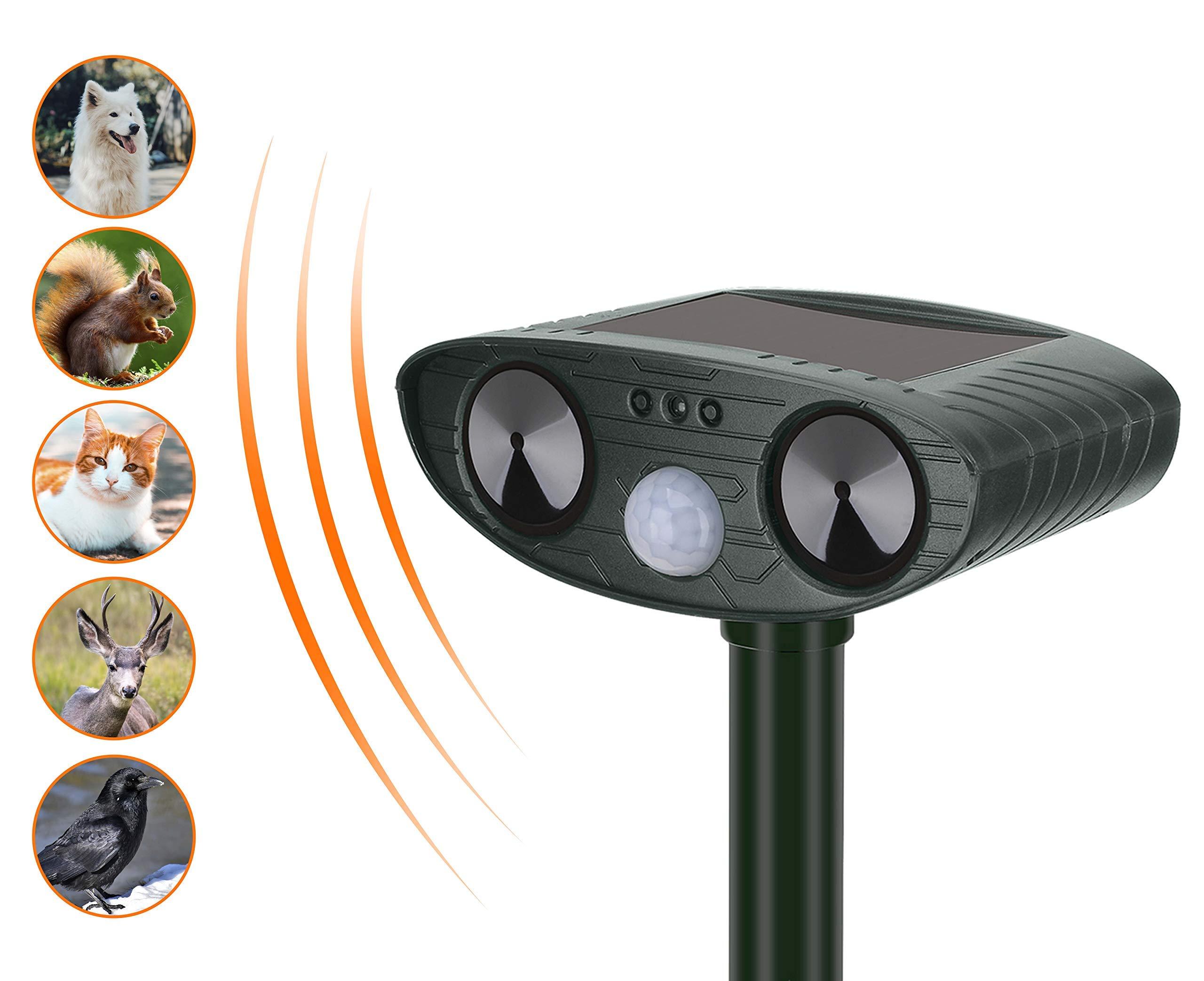 YARDPRO Ultrasonic Cat Repellent Outdoor - Solar Powered Animal Repeller - Non Toxic Dog Repellent and Deer Deterrent by YardPro