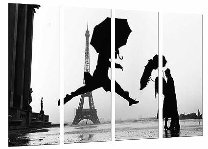Cuadro Moderno Fotografico Ciudad Paris,Silueta Pareja Romantico Paraguas, Lluvia, 131 x 63