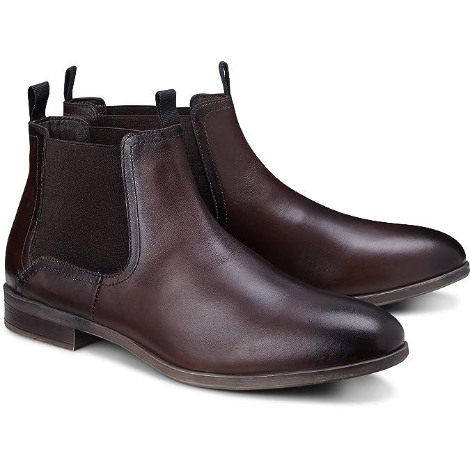 Cox Herren Chelsea Boots aus Leder, lässige Stiefel in Braun mit Rutschfester Sohle