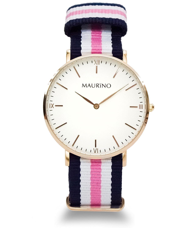 MAURINO Damen Armbanduhr Analog Quarz Textil Rose Gold 40mm M01640