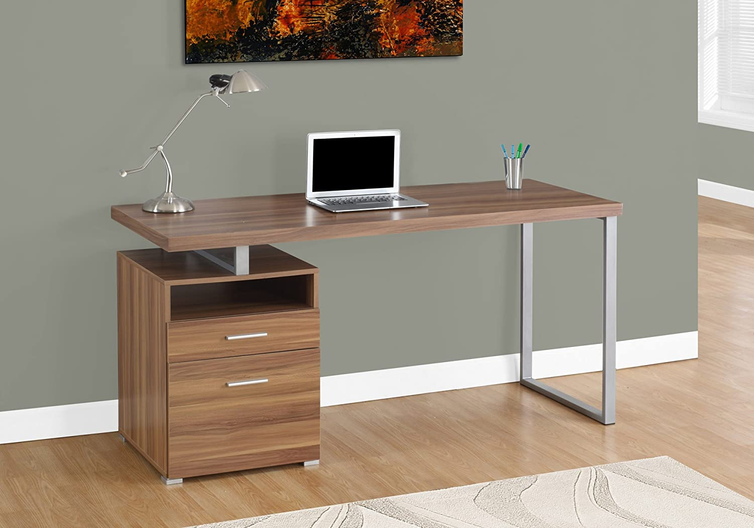 "Monarch Specialties 7146 Computer Writing Desk for Home & Office Laptop Table with Drawers Open Shelf and File Cabinet-Left or Right Set Up, 60"" L, Walnut"