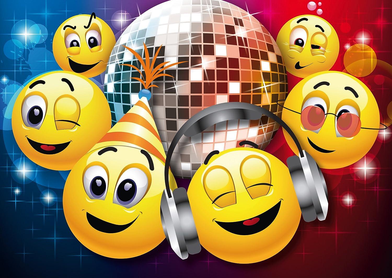 """Edition Colibri 10 Invitaciones en español """"EMOTICONOS EN LA Discoteca"""": Juego de 10 Invitaciones graciosas Tipo Smiley para el cumpleaños Infantil (10833 ES)"""