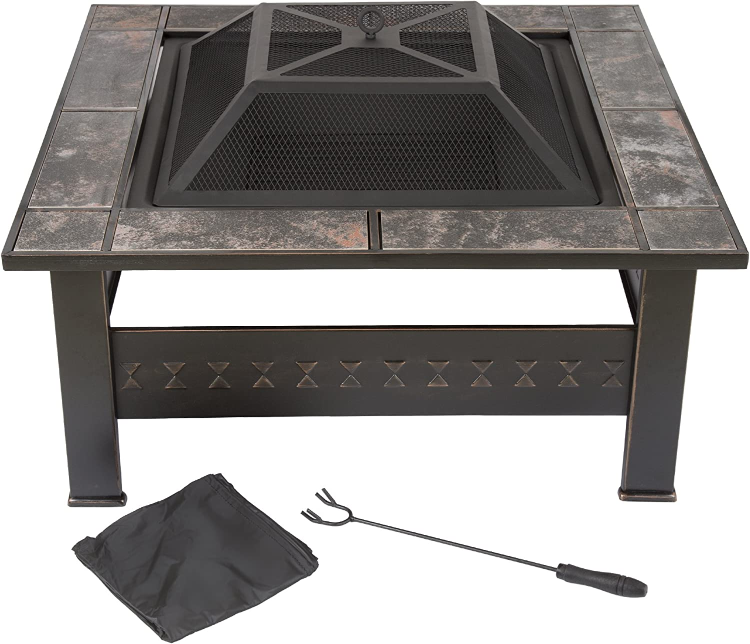 Fire Pit Set, Wood Burning Pit -Includes Screen, Cover and Log Poker- Great for Outdoor and Patio, 32 Inch Marble Tile Square Firepit by Pure Garden