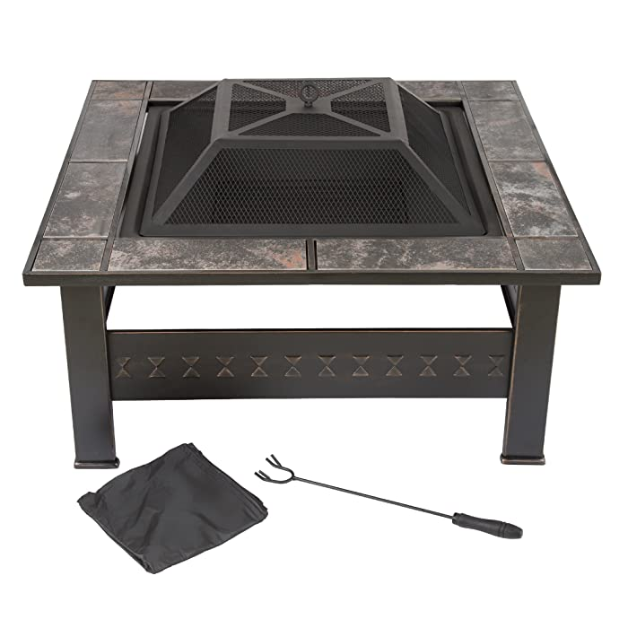 "Fire Pit Set, Wood Burning Pit -Includes Screen, Cover and Log Poker- Great for Outdoor and Patio, 32 Inch"" Marble Tile Square Firepit by Pure Garden"