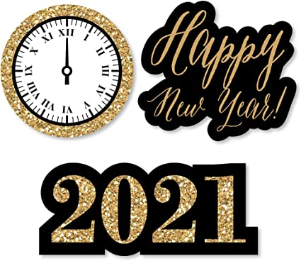 Amazon Com Big Dot Of Happiness New Year S Eve Gold Diy Shaped 2021 New Years Eve Party Cut Outs 24 Count Toys Games