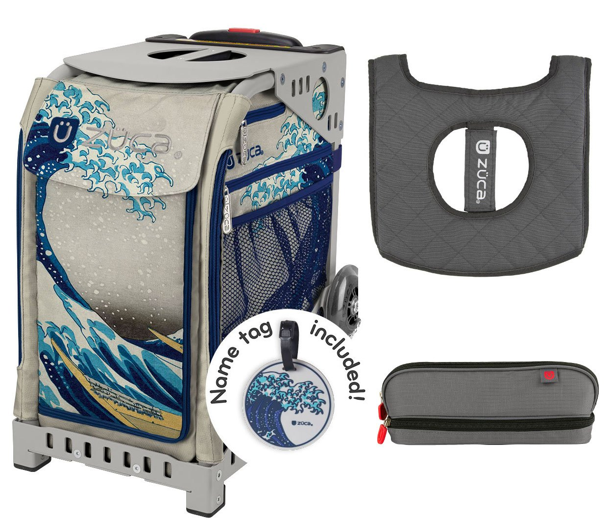Zuca グレートウェーブ スポーツ インサートバッグ & グレーフレーム シートクッション & ペンシルケース付き