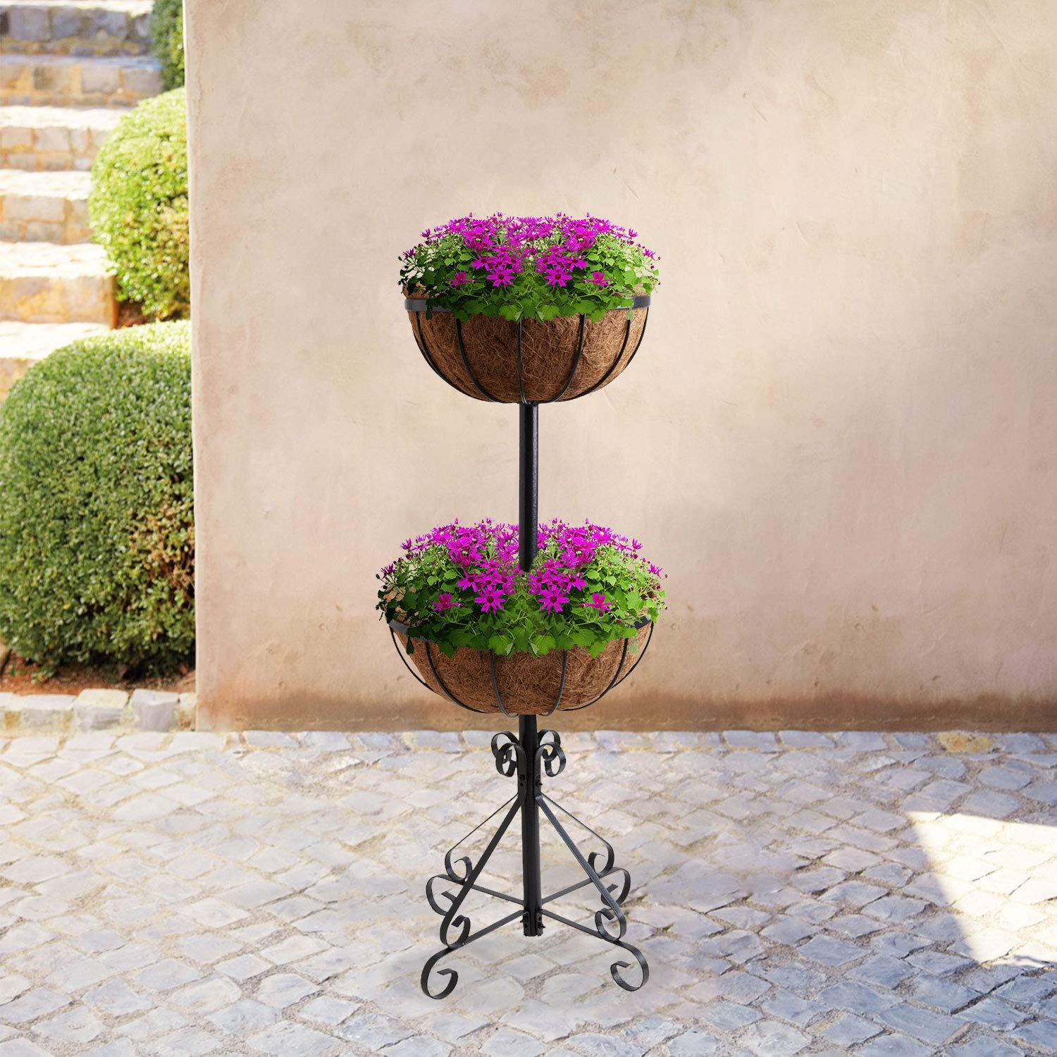 Parkland® 8 Tier Flower Fountain With Coco Liners Black Metal ...