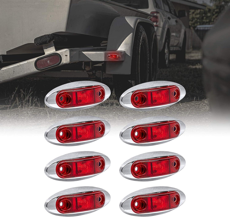 SAE P2 Waterproof IP67 12pc 2.5 Amber LED Trailer Marker Light Kit w//Chrome Bezel Surface Mount DOT FMVSS 108 Side Marker Lights for Trailer Truck