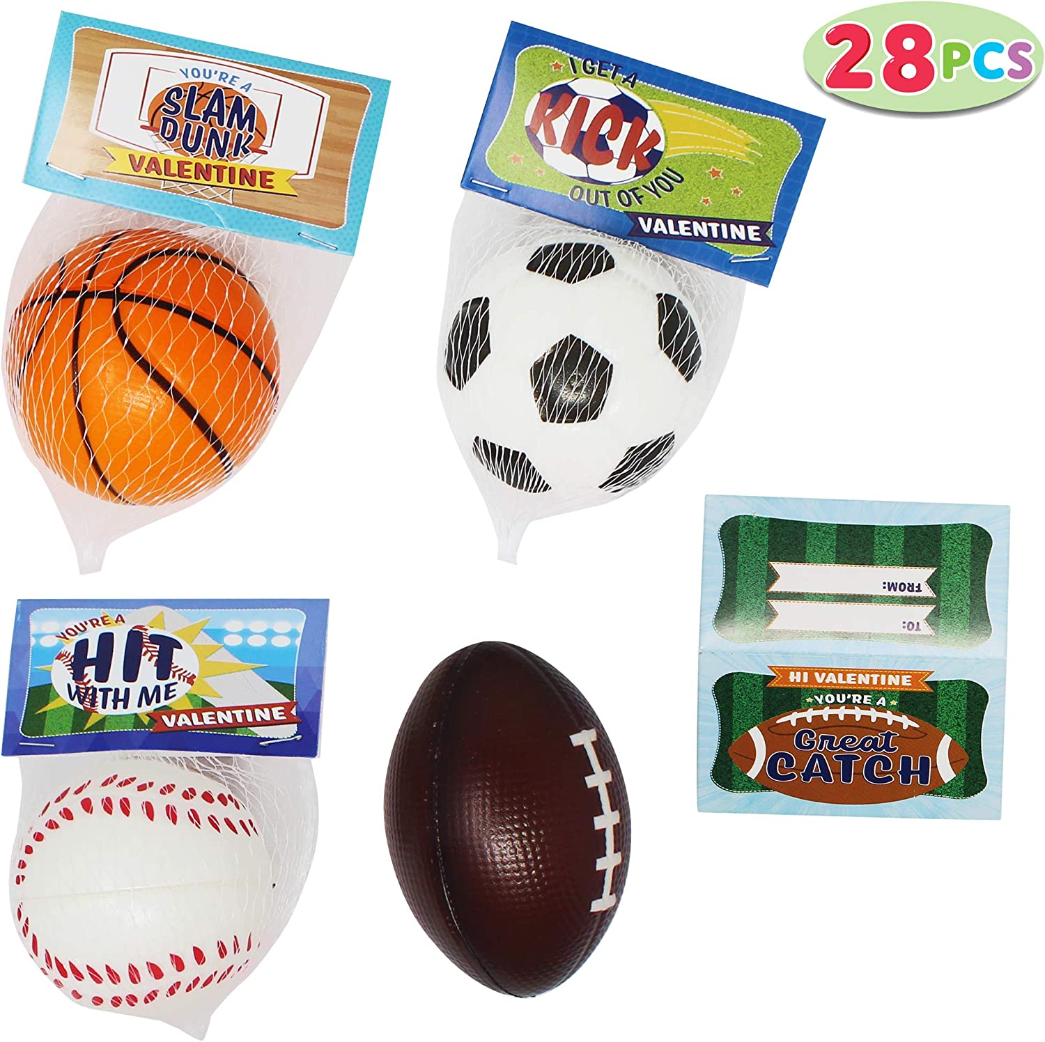 and Baseball for Classroom Exchange Prizes Basketball Soccer JOYIN 28 Pack Kids Valentines Day Gift Cards with Gift Mini Sports Ball Figure Stress Balls Squeeze Foam Balls Includes Football Valentine Party Favor Toys Stress Relief // Anxiety Relief