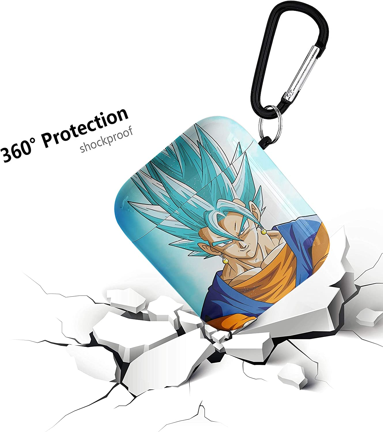 Dragon Ball Super Saiyan Aripod Personalise Custom AirPod Case Cover Compatiable with Apple AirPods 1st//2nd,Full Protective Durable Shockproof Drop Proof with Keychain Compatible