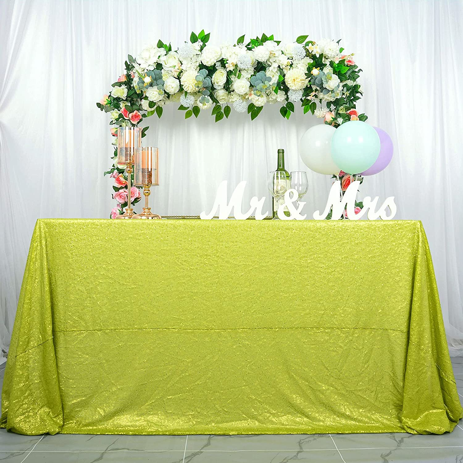 Sequin Tablecloth 50''x80'' Lime Green Rectangle Tablecloth Fabric Table Cover Shimmer Table Linen Cake Table Cloth for Wedding Party Event Decor (50x80'', Lime Green)