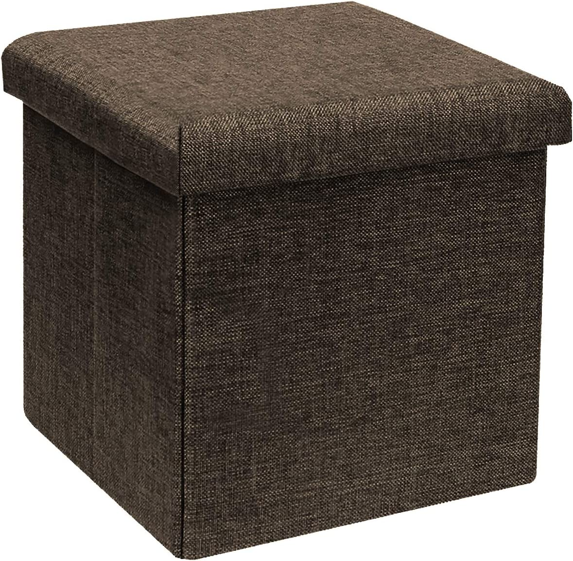 "B FSOBEIIALEO Storage Ottoman Cube, Linen Small Coffee Table, Foot Rest Stool Seat, Folding Toys Chest Collapsible for Kids Brown 11.8""x11.8""x11.8"""