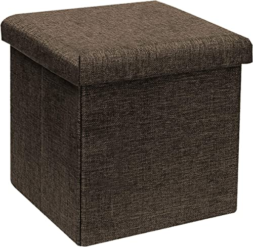 B FSOBEIIALEO Storage Ottoman Cube, Linen Small Coffee Table, Foot Rest Stool Seat, Folding Toys Chest Collapsible for Kids Brown 11.8 x11.8 x11.8