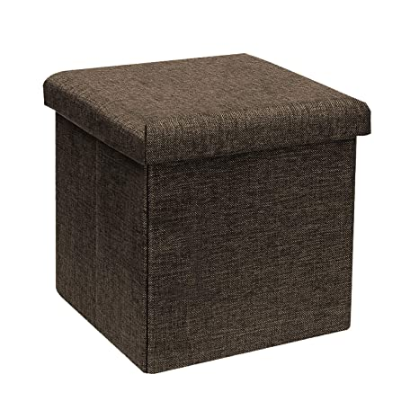 Sensational B Fsobeiialeo Storage Ottoman Cube Linen Small Coffee Table Foot Rest Stool Seat Folding Toys Chest Collapsible For Kids Brown 11 8X11 8X11 8 Customarchery Wood Chair Design Ideas Customarcherynet