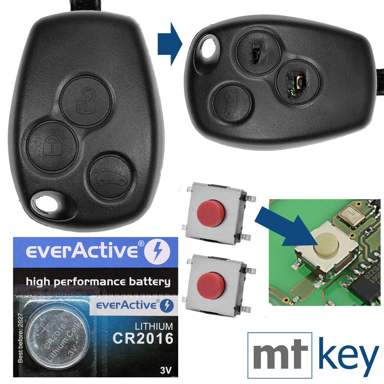 Schlüssel 2 Tasten Knöpfe Reparatur Ersatz Kunststoffgehäuse Funk für RENAULT