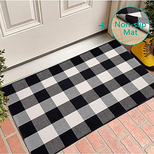 With Anti-Slip Mat Buffalo Plaid Rug Mat, 27.5 x 43 Check Rug with Anti-Slip Mat Black and White Cotton Hand-Woven Reversible Washable Outdoor Rugs for Layered Door Mats Porch Front Door Farmhous