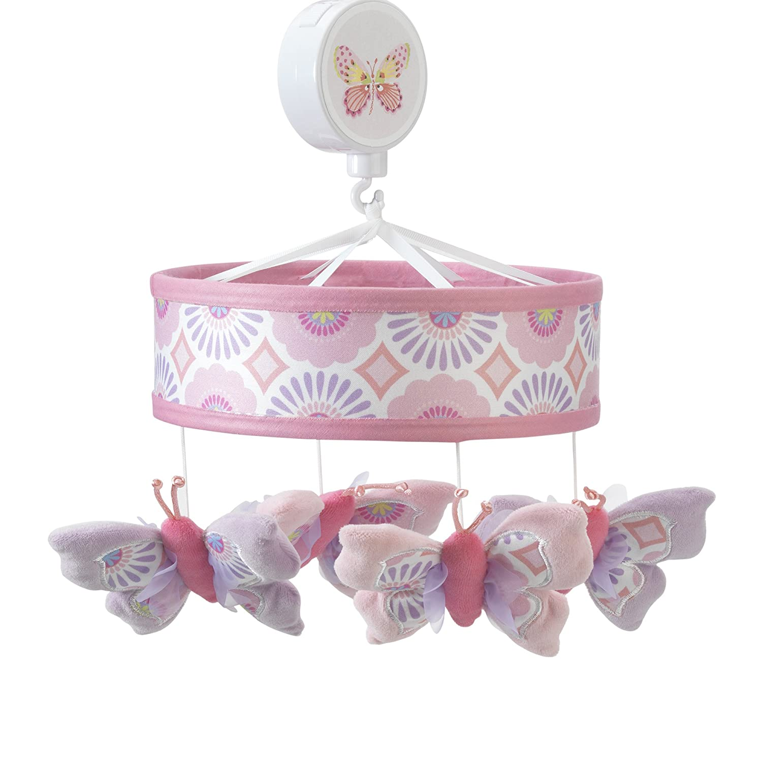 White//Pink//Purple 679018 Lambs /& Ivy Happi by Dena Butterfly Garden Musical Mobile