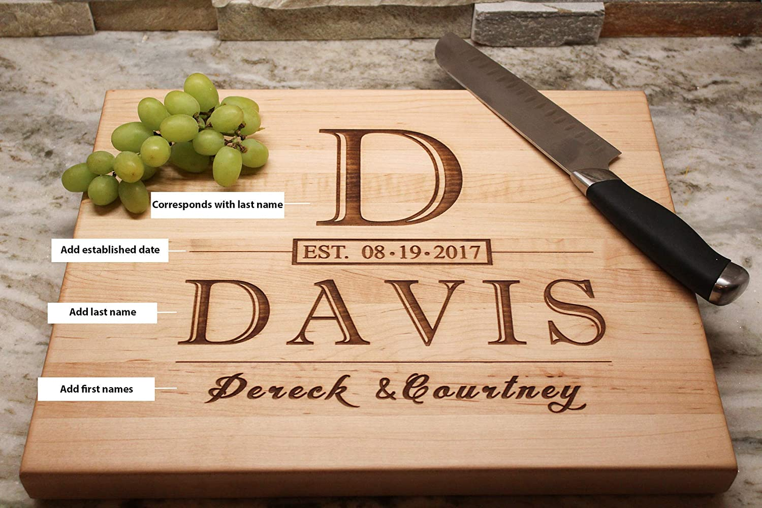 5bbe38c50e1 ... Cutting Board Custom Monogrammed Cutting Board Christmas Gift for Family  Engagement Gift for Couple Wedding Gift Anniversary Gifts Housewarming Gift