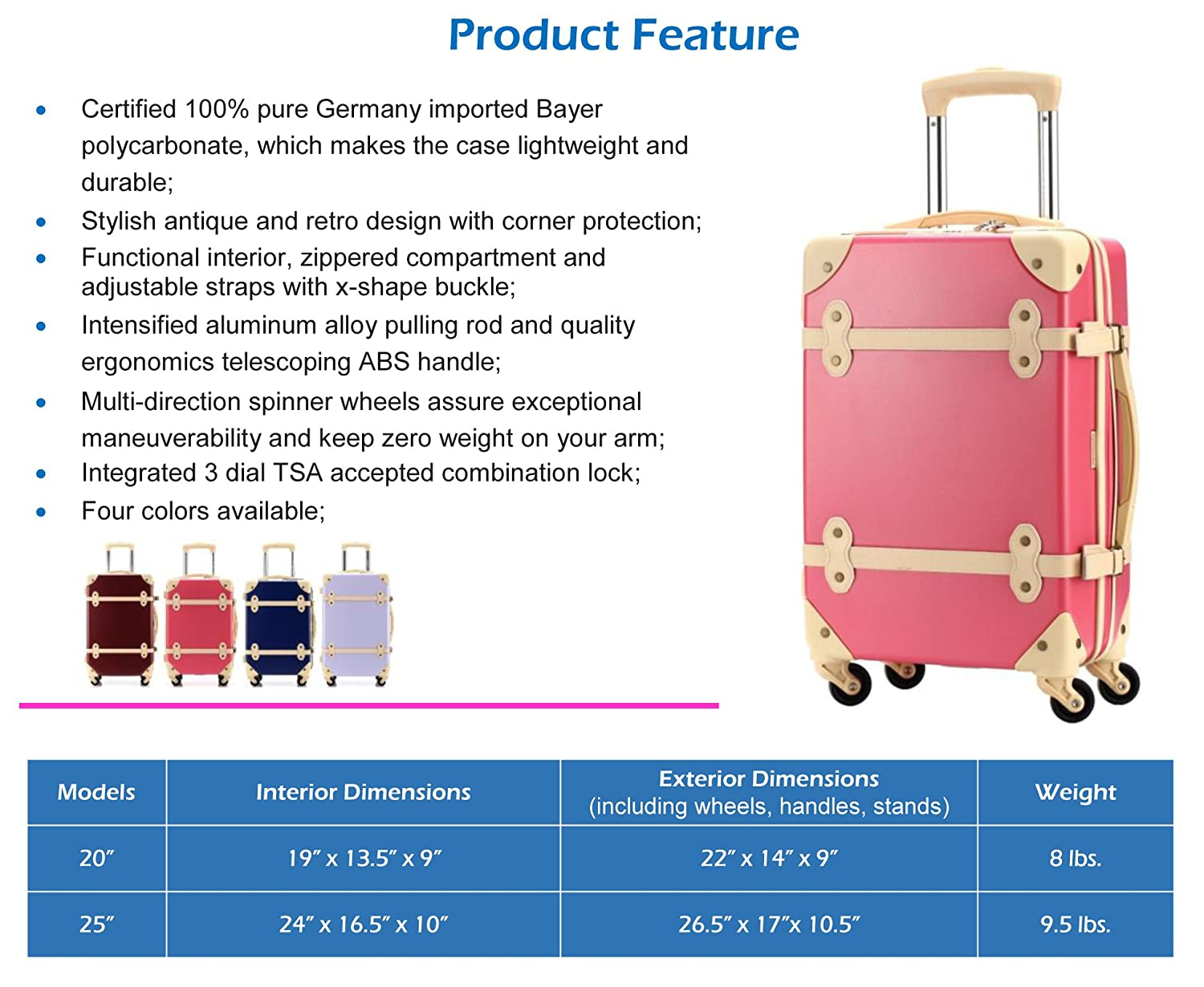 52af4f0246f Amazon.com: Ambassador Luggage Vintage Fashion Polycarbonate Spinner ...