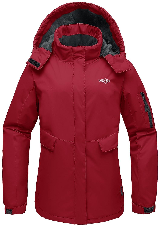 Wantdo Women's Mountain Ski Fleece Jacket Waterproof Parka Windproof Warm Winter Raincoat with Hood Outdoors