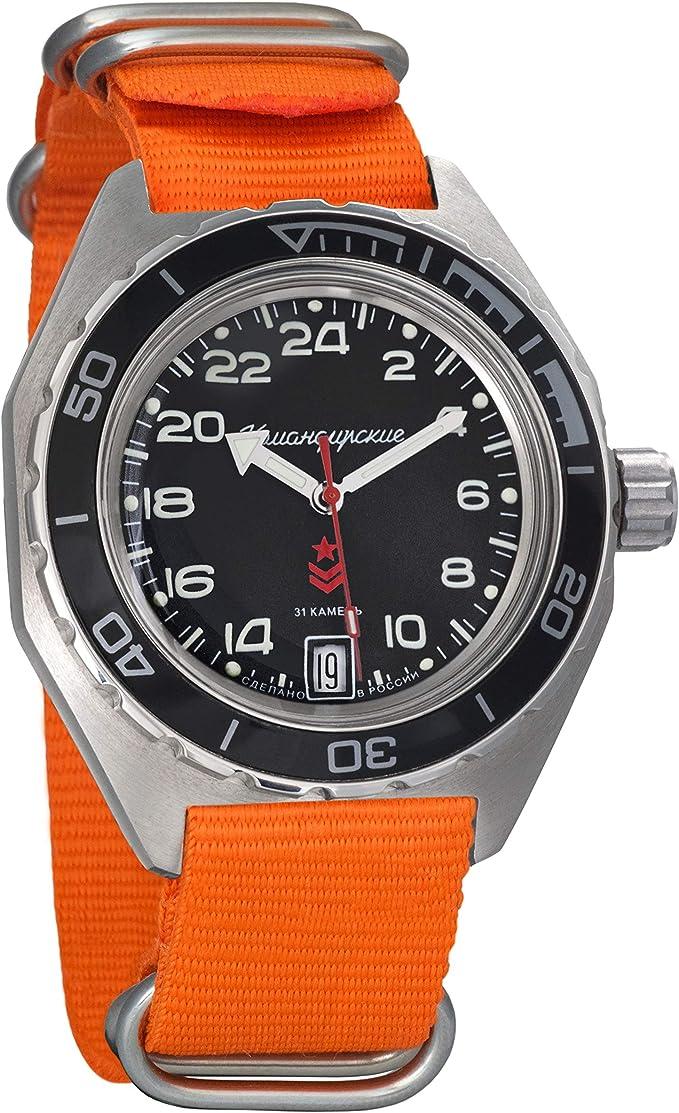 Amazon.com: Vostok Komandirskie Automatic 24 Hour Dial Russian Military Wristwatch WR 200m (650541 Orange): Watches