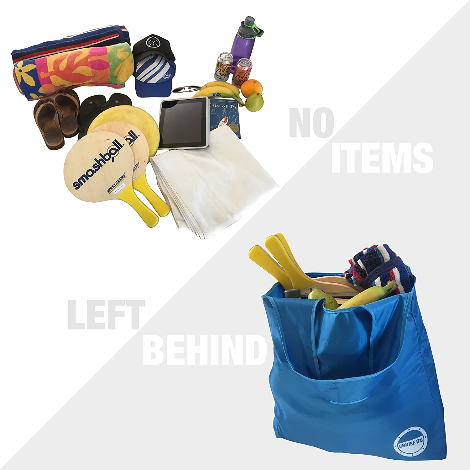 Lightweight Foldable /& Packable into Small Pouch Shopping /& Travel Large Waterproof Nylon Totes Collapsible Travel Tote Bag for Cruise Beach