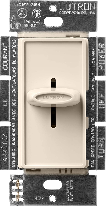Lutron SFSQ-F-LA Skylark 1.5-Amp Single Pole Slide-To-Off 3-Speed Fan Control, Light Almond - Ceiling Fan Wall Controls -