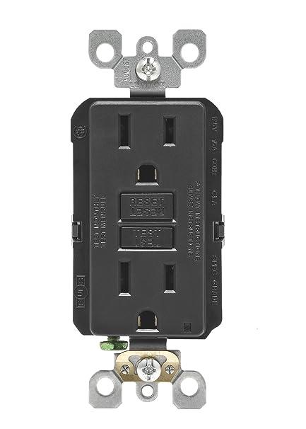 leviton n7599-e 15-amp 125-volt smartlock pro slim gfci receptacle, black -  ground fault circuit interrupter outlets - amazon com