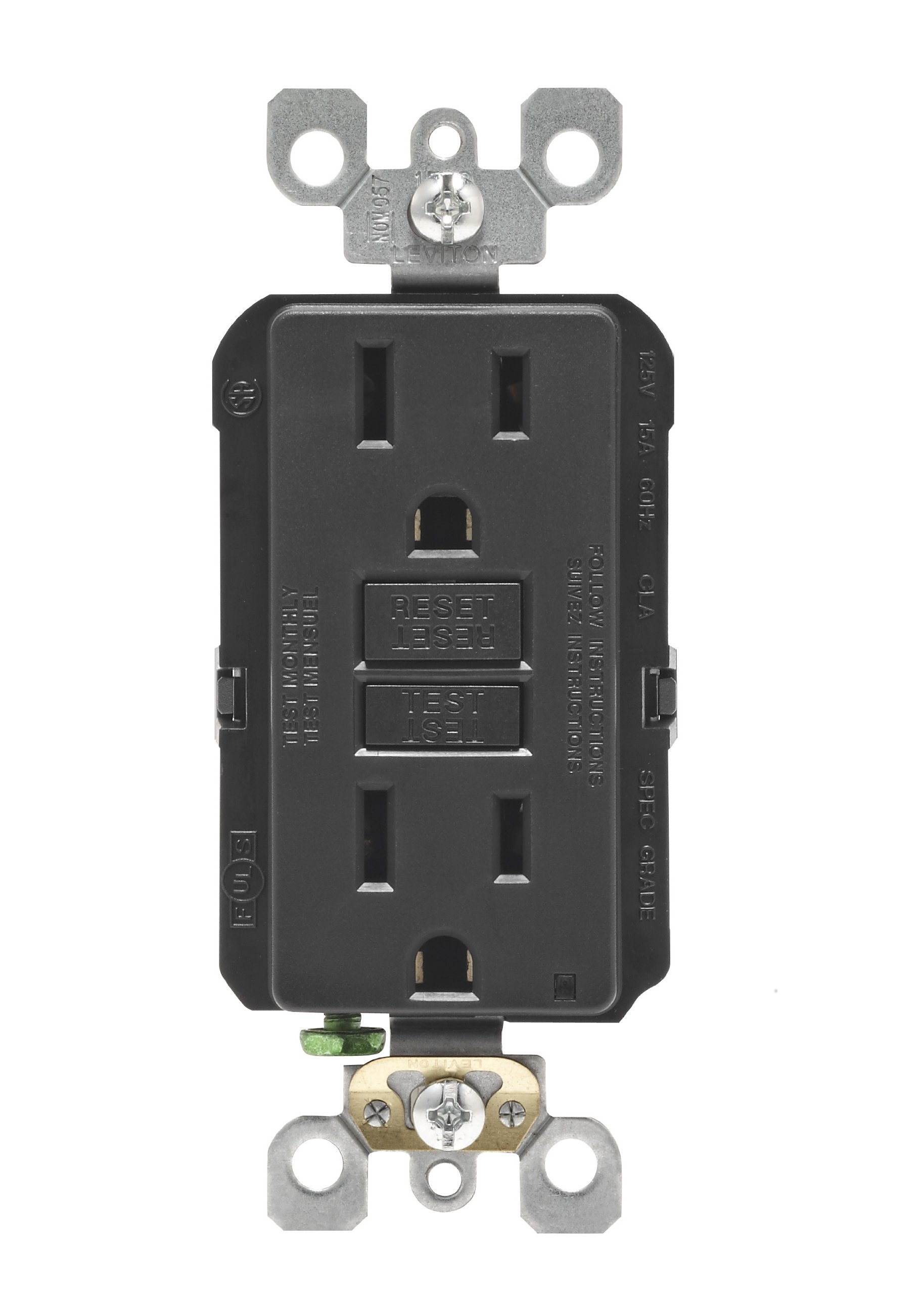 Leviton N7599-E 15-Amp 125-Volt SmartLock Pro Slim GFCI Receptacle, Black