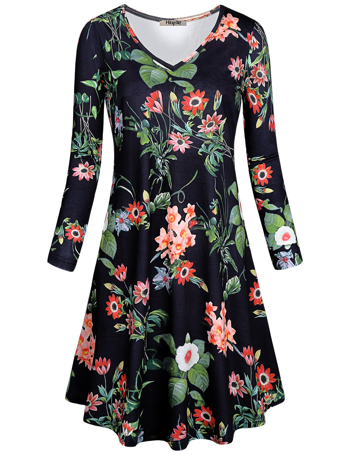 Hibelle Casual Dresses for Women, Juniors Floral Print Long Sleeve V-Neck A Line Jersey Knit Fabric Cozy Flattering Swing Fall Weekend Tunic Midi Dress with Pockets Black Medium